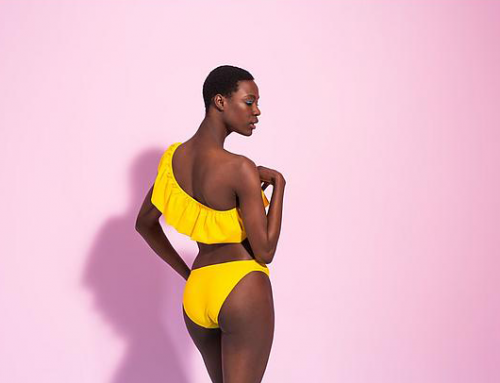 Fashionable in one-shoulder beachwear